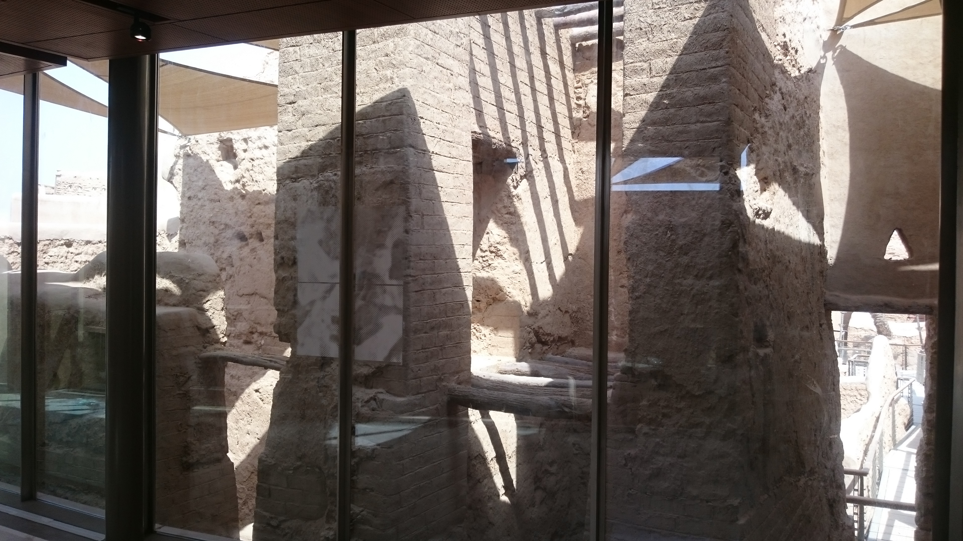 The glass walls of the museums at Historical Addiriyah allow visitors to walk through the buildings in air conditioned comfort