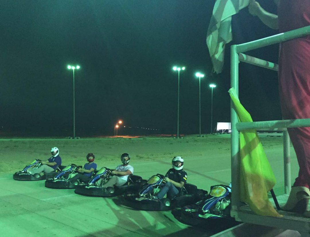 Friends race each other at Reem Karting Circuit