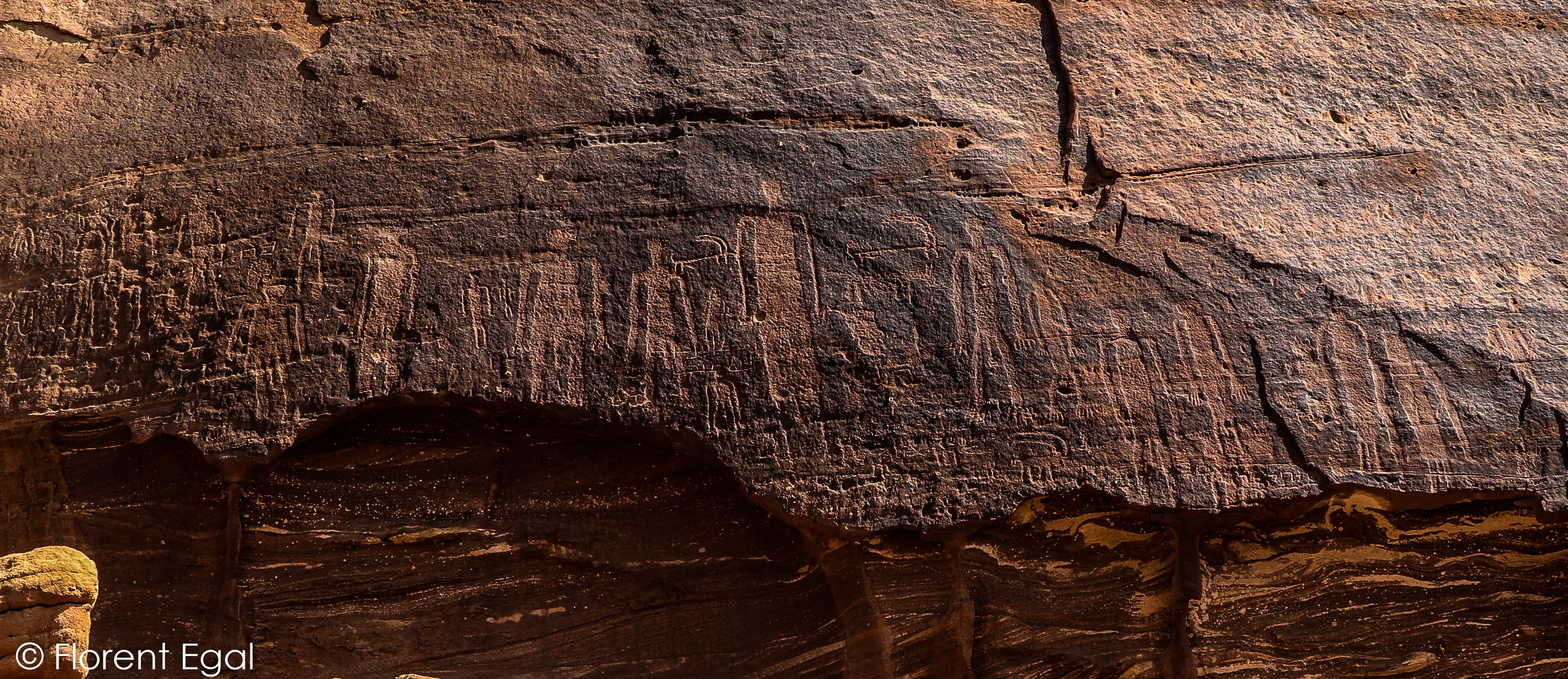 Prehistoric carvings of human figures in Al-Ula oasis (photo: Florent Egal)