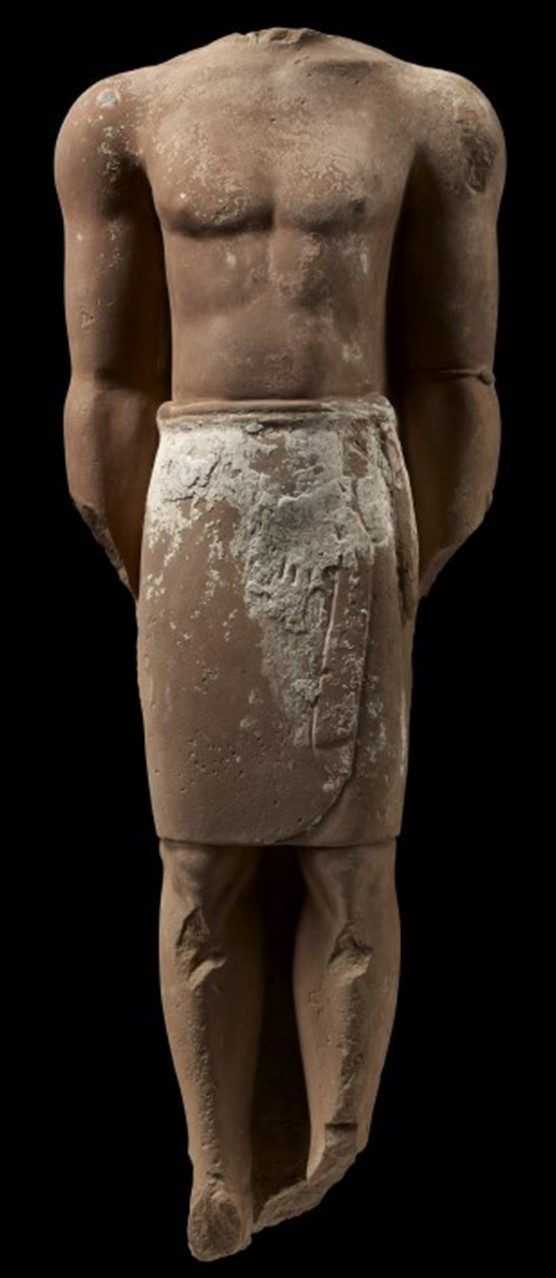 Statue from Dedan sculpted in red sandstone, 230 X 80 cm, King Saud University, Museum of the Department of Archeology